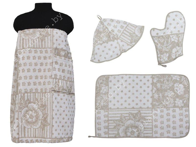 Комплект для бани женский (Полотенце на резинке 70х155см, коврик, рукавица, шапка) 17С359_60_330 Барышня-крестьянка