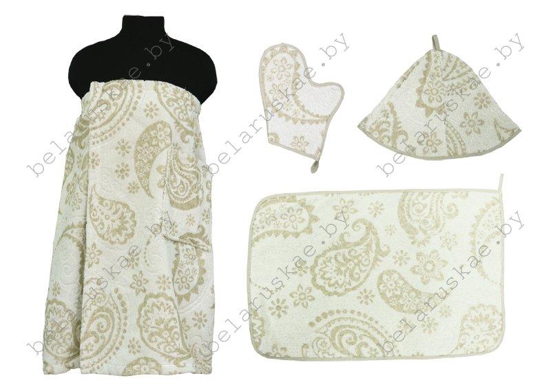 Комплект для бани женский (Полотенце на резинке 70х155см, коврик, рукавица, шапка) 17С359_62_330 Магия востока Белорусский лен