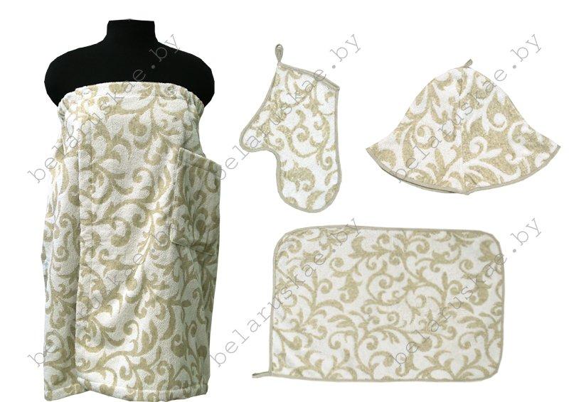 Комплект для бани женский (Полотенце на резинке 70х155см, коврик, рукавица, шапка) 17С359_65_330 Злато Белорусский лен